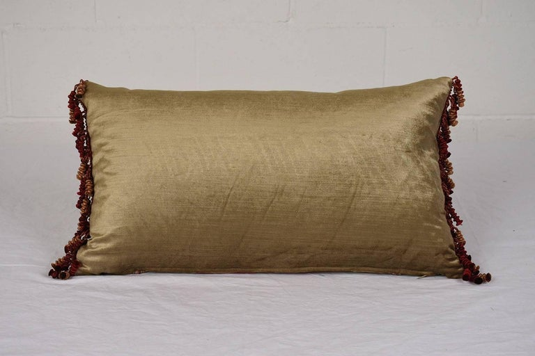 Striped Throw Pillow with Antique French Textile In Excellent Condition For Sale In Los Angeles, CA