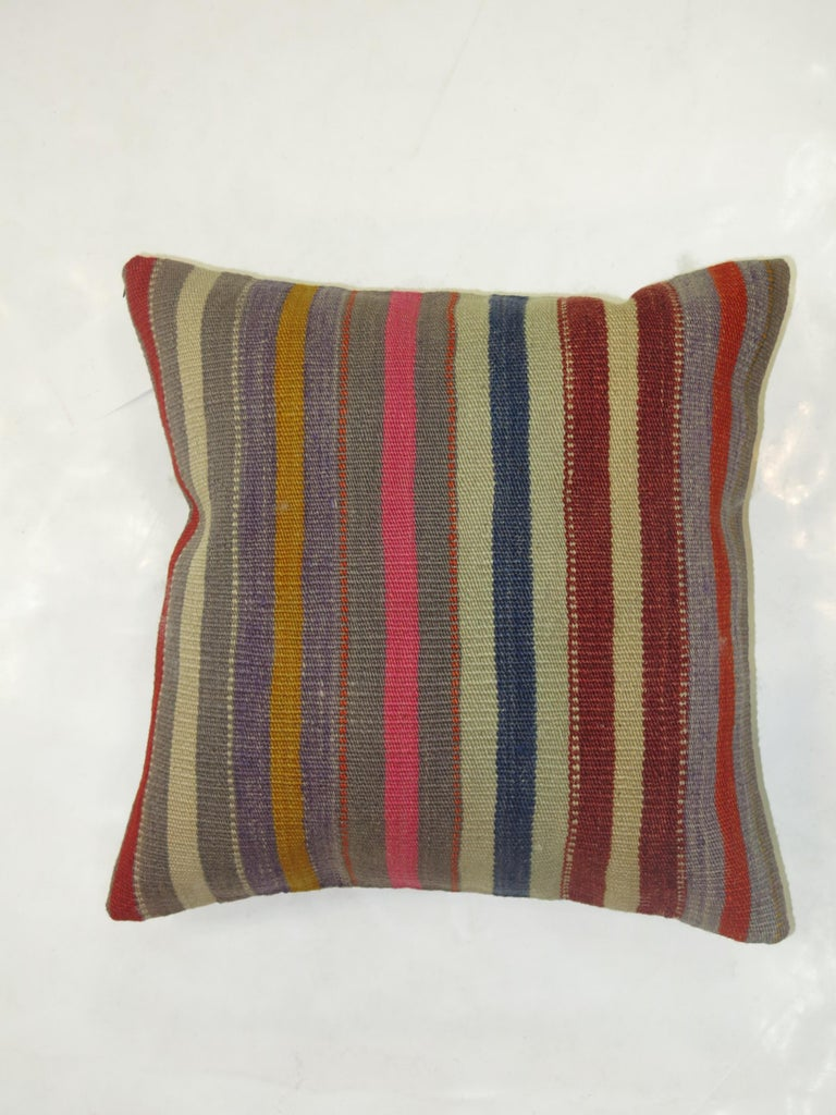 Mid-Century Modern Striped Turkish Kilim Pillow For Sale