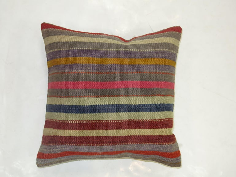 Striped Turkish Kilim Pillow In Excellent Condition For Sale In New York, NY