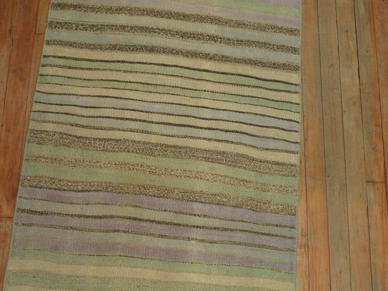 Minimalist Striped Turkish Kilim Runner For Sale