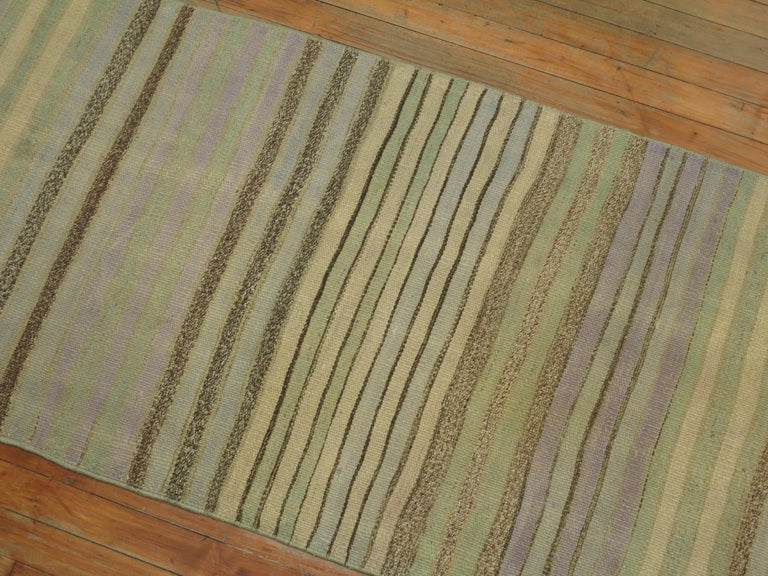 Hand-Knotted Striped Turkish Kilim Runner For Sale