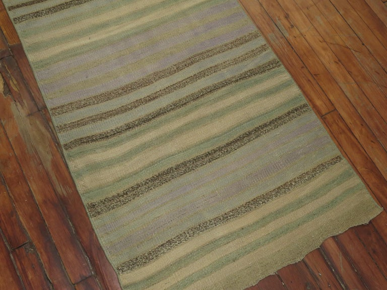 Striped Turkish Kilim Runner In Excellent Condition For Sale In New York, NY