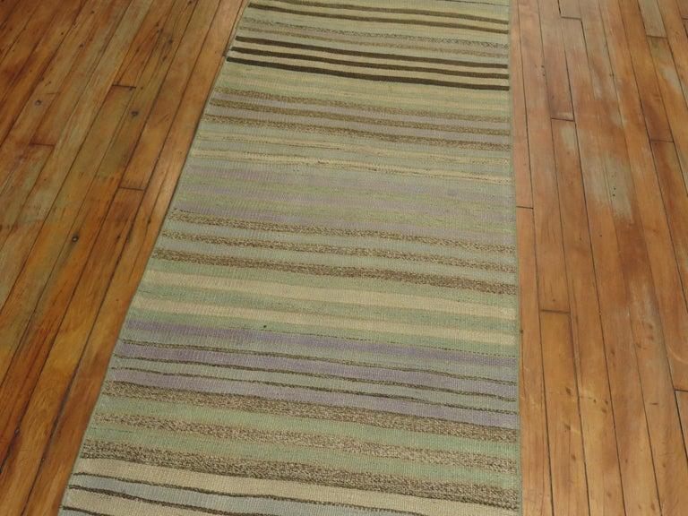 Wool Striped Turkish Kilim Runner For Sale