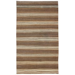 Striped Turkish Vintage Kilim Flat-Weave Rug in Brown's and Ivory
