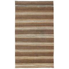 Striped Turkish Vintage Kilim Flat-Weave Rug in Brown's and Ivory
