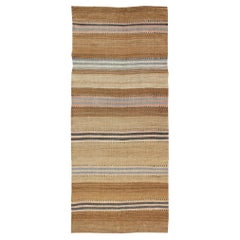 Striped Turkish Vintage Kilim Flat-Weave Rug in Shades of Browns Taupe & Neutral