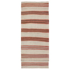 Striped Turkish Vintage Kilim Flat-Weave Rug in Shades of Red, Brown, and Ivory