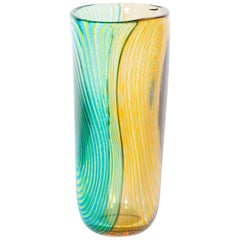 Striped Vase in Blown Murano Glass Green Orange and Light Blue, 1990s, Italy