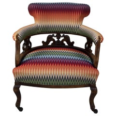 Striped Victorian Captains Chair