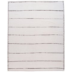 Striped White Modern Moroccan Style Wool Rug