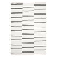 Stripes Cream/Black Rug, Modern Dhurrie/Kilim Rug in Scandinavian Design
