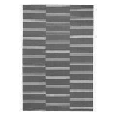 Stripes Gray/Cream Rug Modern Dhurrie/Kilim Rug in Scandinavian Design