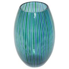 Stripes Murano Vase Artglass 1970s Venini Style