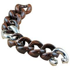 Stripes Wood 925 Silver Link Bracelet