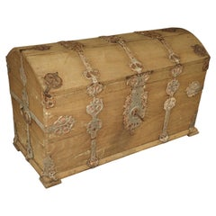 Stripped Alsacien Oak Trunk with Parcel Silver Paint Hardware, circa 1790