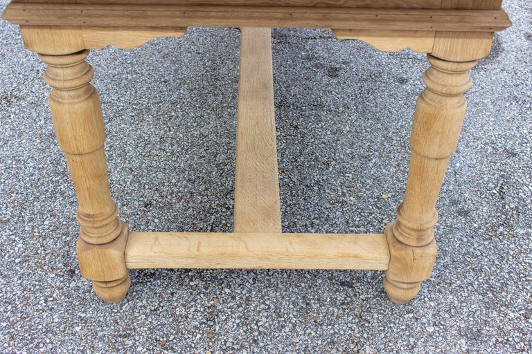 Stripped Antique French Oak Table with Hand Carved Details For Sale 7