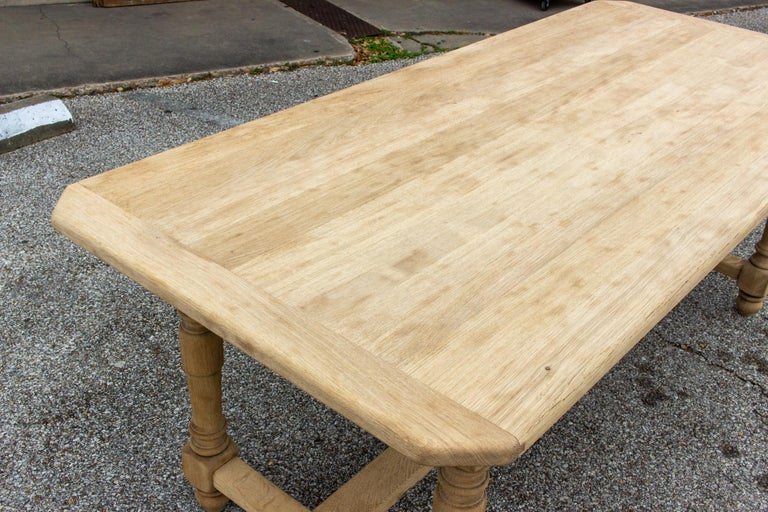 Stripped Antique French Oak Table with Hand Carved Details For Sale 10