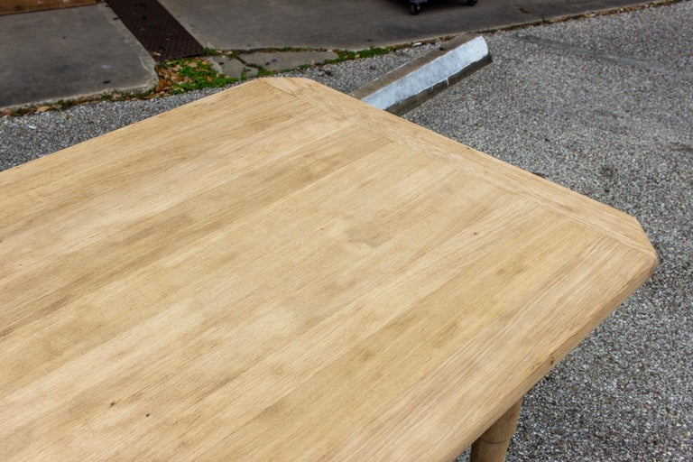 Stripped Antique French Oak Table with Hand Carved Details For Sale 12