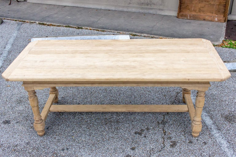 Stripped Antique French Oak Table with Hand Carved Details For Sale 2