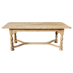 Stripped Antique French Oak Table with Hand Carved Details