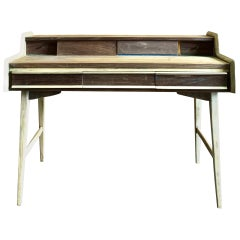 Stripped-Brown Walnut Writing Desk by Gio Ponti