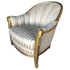Stripped Gold-Tone Hollywood Regency Shell Back Lounge Armchair
