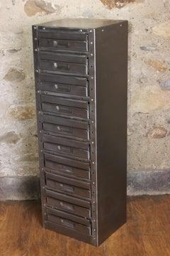 Stripped Metal 10 Drawer Engineers Work Cabinet Storage Haberdashery For At 1stdibs