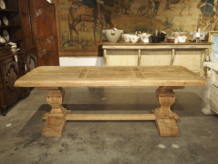 Stripped Oak Monastery Table from France, circa 1950s 3