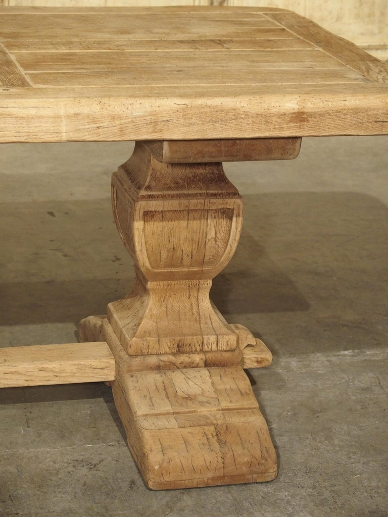 Stripped Oak Monastery Table from France, circa 1950s 4