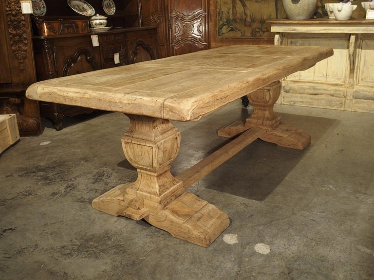 Stripped Oak Monastery Table from France, circa 1950s 7