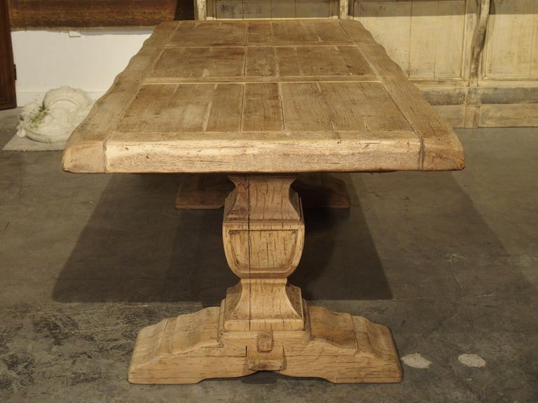 Stripped Oak Monastery Table from France, circa 1950s 9