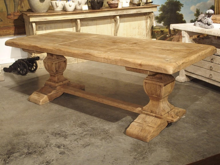 Stripped Oak Monastery Table from France, circa 1950s 11