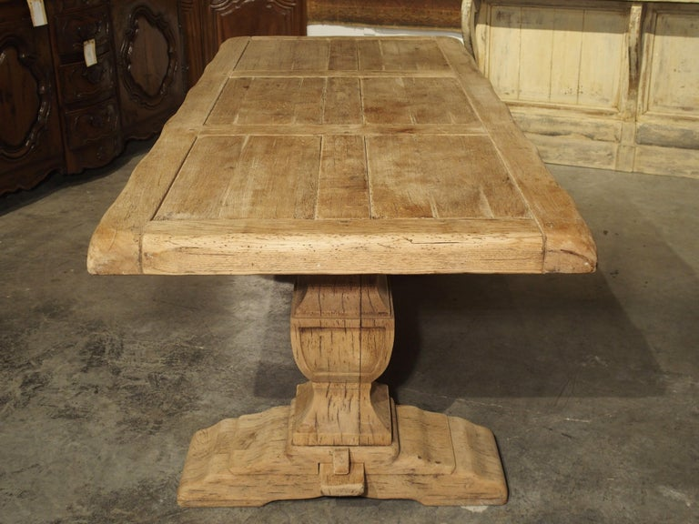 Louis XIV Stripped Oak Monastery Table from France, circa 1950s