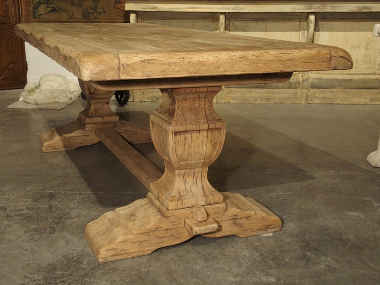 French Stripped Oak Monastery Table from France, circa 1950s