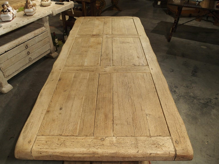 Stripped Oak Monastery Table from France, circa 1950s 1