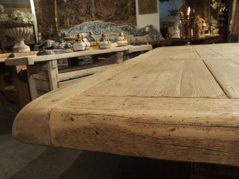 Stripped Oak Monastery Table from France, circa 1950s 2