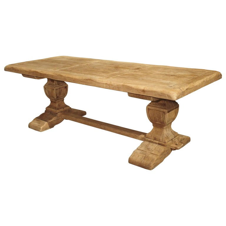 Stripped Oak Monastery Table from France, circa 1950s