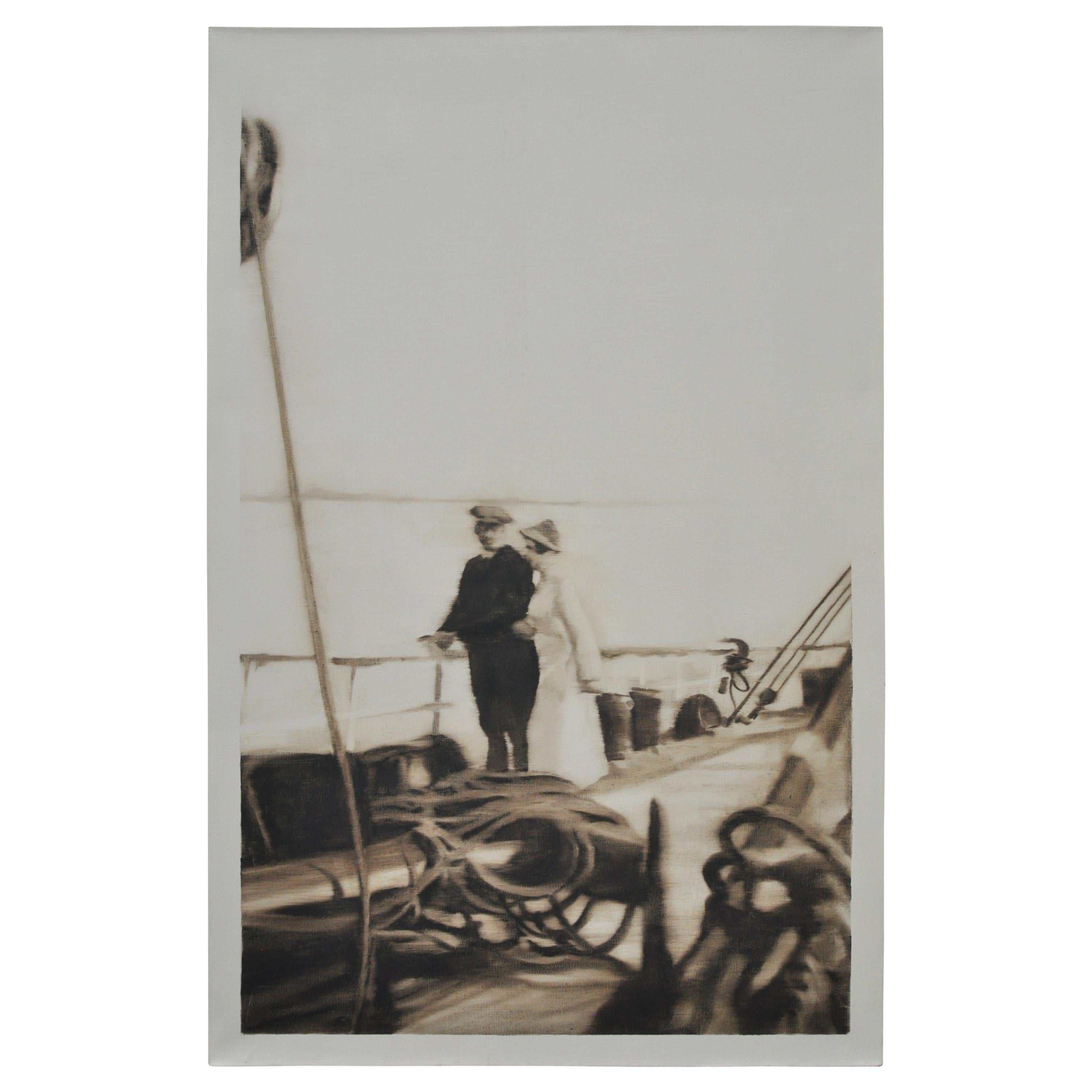Sepia Oil Painting On a Ship Deck