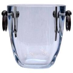 Strömbergshyttan Sweden Blue Glass Ice Bucket with Sterling Silver Handles