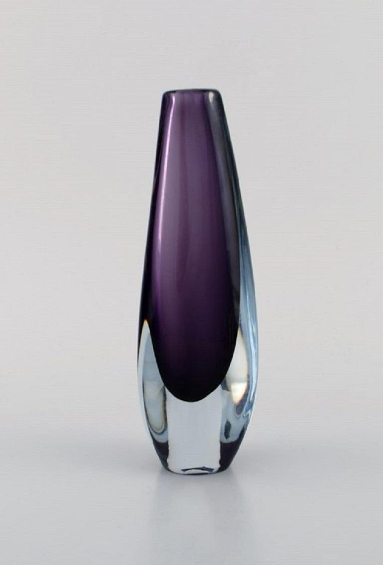 Mid-Century Modern Strömbergshyttan, Sweden, Two Vases in Purple Mouth-Blown Art Glass, 1960s / 70s For Sale