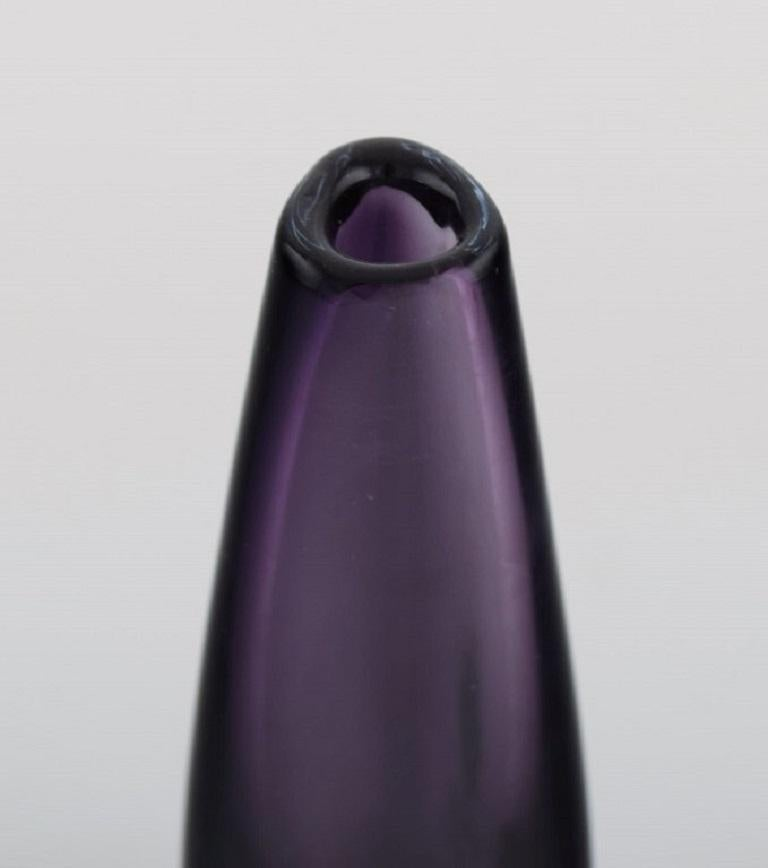 Swedish Strömbergshyttan, Sweden, Two Vases in Purple Mouth-Blown Art Glass, 1960s / 70s For Sale