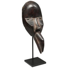 Strong Cubist Dan Bird Man Wood Face Mask Early 20th Century Libera, Africa