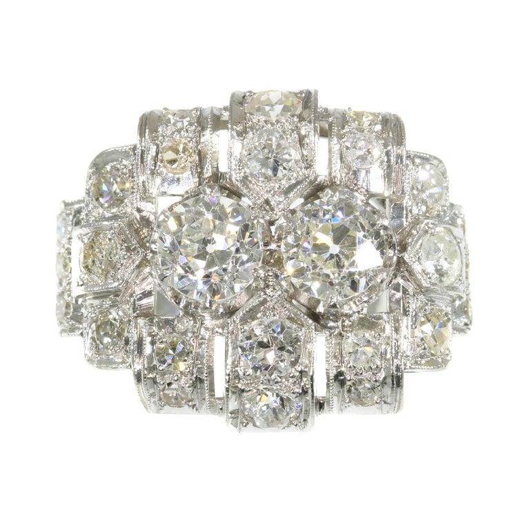 Platinum Engagement Rings Sale Uk: Strong Design Art Deco Platinum Diamond '2.50 Carat