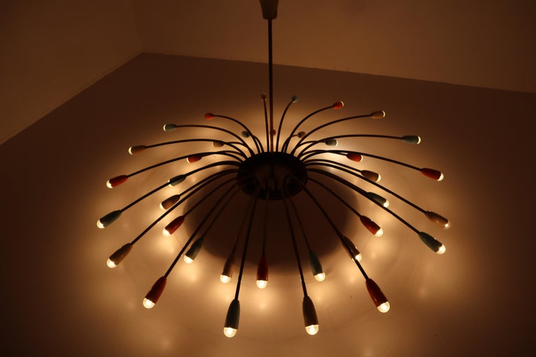 Mid-20th Century Strong Patinated Midcentury Spider Form Sputnik Chandelier Germany, 1950s For Sale