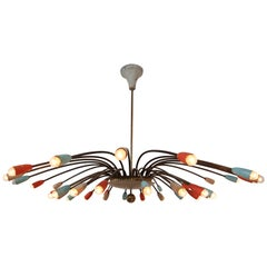 Strong Patinated Midcentury Spider Form Sputnik Chandelier Germany, 1950s