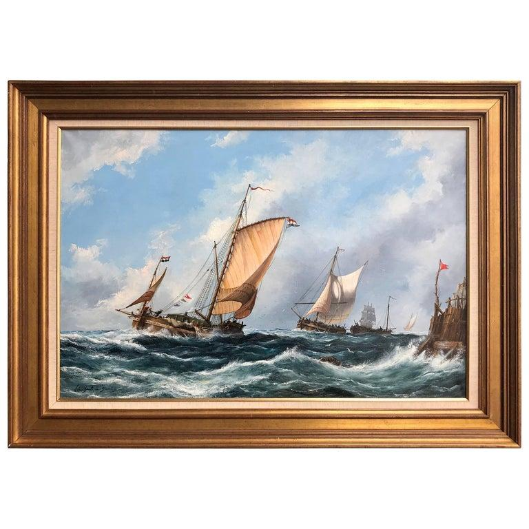 """Victorian """"Strong Seas"""" Painting by John Bentham-Dinsdale For Sale"""