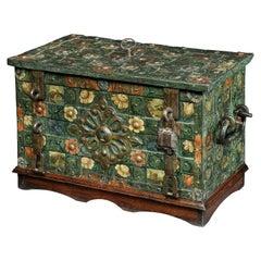 Strongbox, Safe, Late 16th Century, Nuremberg, Iron, Naïve, Painted, Oak Stand