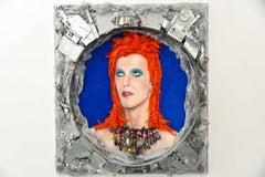 Bowie in Space - Mixed Media - 3d Portrait - one of a kind piece -