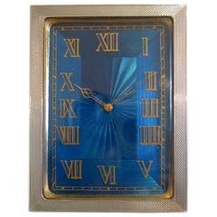 Strut Clock in Silver and Petrol Blue Guilloche Enamel