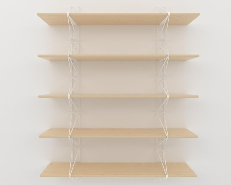 Modern Strut Shelving System from Souda, White Brackets with Maple Shelves For Sale
